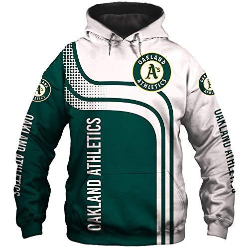 LIULL Sport Hoodiepullover Oakland Athletics Baseball Digital-Sweatshirt Druck Baseball Uniform Teens Jacke A-XXXXXL