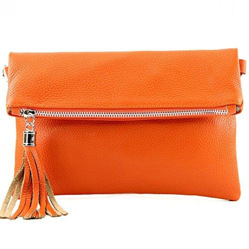 modamoda de - T167 - ital Clutch/Umhängetasche Leder Klein, Farbe:Orange