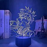 Manga D Hombre gris Lavi LED Luz de noche para decoración de dormitorio Colorido Noche Luz de anime Regalo 3D Lavi D Gris Hombre Lámpara, 7 colores
