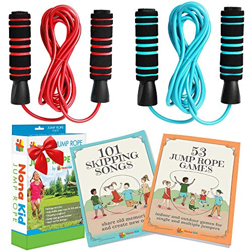 Nona Kid 2 Pack Jump Rope - for Kids and Adults - Easily Adjustable with Anti-Slip Handles - Plus Game Book and Skipping Song Book