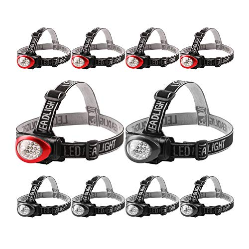 Lichamp Headlamp, 10 Pack 12 LED 3 Mode Portable Head Lamp Flashlight, Outdoor Lightweight Durable Headlight for Running, Camping, Reading, Fishing, Hunting, Walking, Jogging, Black + Red Color