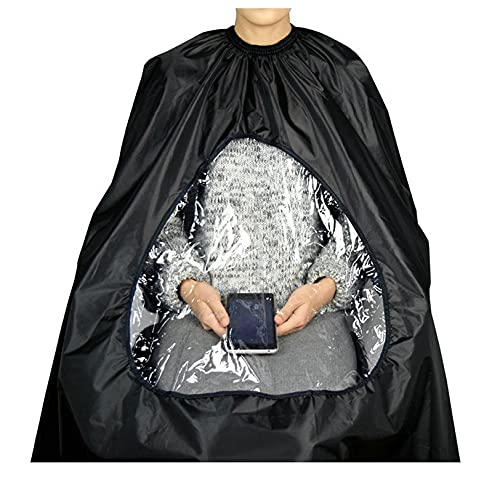 Green-Estetica Barber Cape for Hair Cutting | Professional Water & Stain Resistant Salon Cape for Men & Women with See-Through Window & Adjustable Neck Closure (Black)