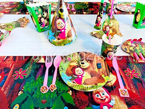 Vajilla de fiesta de 145 piezas, diseño de Masha y el oso