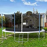 16FT Trampoline Round Jumping Table with Safety Enclosure Net Sping Pad Combo Bounding Bed Trampoline Fitness Equipment, Black Edition Trampoline with Premium Enclosure Ship from USA Local Warehouse
