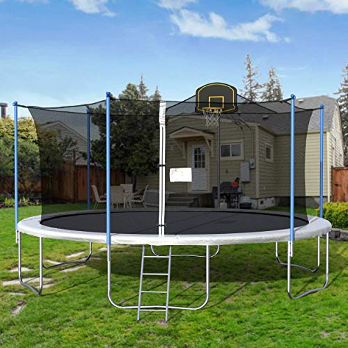 16FT Trampoline Round Jumping Table with Safety Enclosure Net Sping Pad Combo Bounding Bed Trampoline Fitness Equipment Black Edition Trampoline with Premium Enclosure Ship from USA Local Warehouse