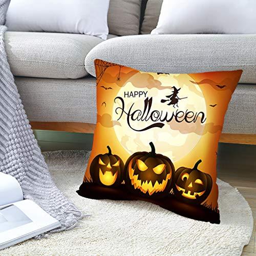 VWsiouev Funda de cojín de Halloween con diseño de calabaza y murciélago cuadrado de piel melocotón, funda de cojín para sofá cama, decoración de Halloween, 45 cm x 45 cm
