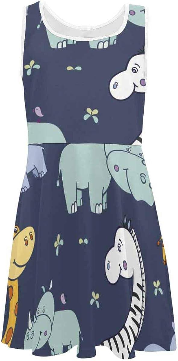 InterestPrint Girls Sleeveless Summer Casual Swing Dresses School Party Beach 4-13 Years Cute Giraffes Pattern 2T