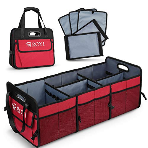 Upgraded Car Trunk Organizer Collapsible Portable Cargo Storage with Tools Grips 3 Large Compartments and Upgraded Handle Trunk Organizer Compatible with SUV Car Truck Auto