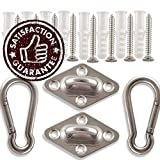 Premium Hammock Hooks by Amerigo - Best Hanging Kit for Your Relaxation - Heavy Duty - Set of 2 Pad Plates, Spring Snap Hooks, 8 Anchors and Lag Screws Made of Stainless Steel for Perfect Experience!