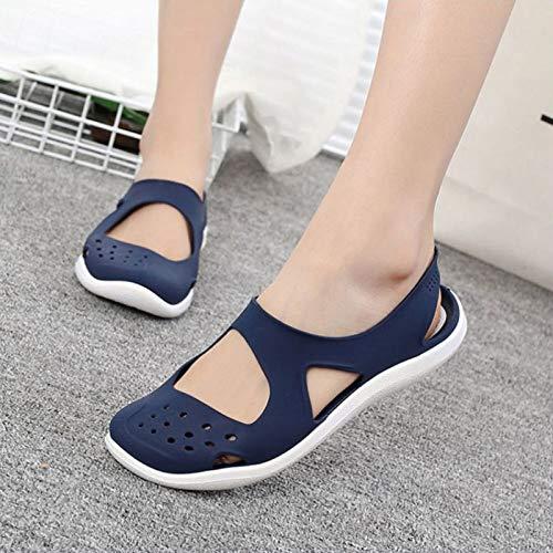 LXYYBFBD sandalen voor dames, zomer en dames, open toe sandalen, zacht, vlak, slip on en jelly schoenen, meisjes, sandalen, blauw uitgehold mesh woningen badschoenen