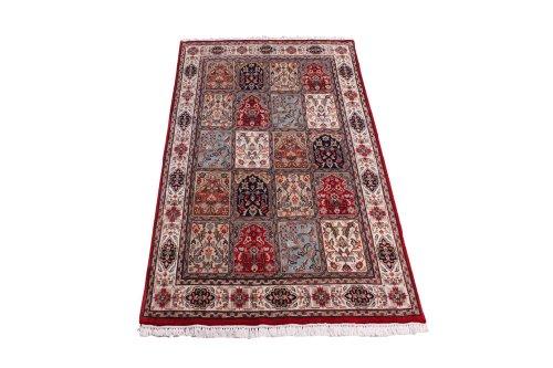 Klassischer handgeknüpfter Orient Teppich Ghom Felder Rot aus Indien 204 x 140 cm