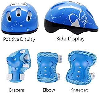 Cocosmart Bike, 6.7 * 20.5CM Skateboard Kids Helmet 7 in 1 Kids Protectors Set with Knee Pads, Elbow Pads and Wristbands for Inline Skates, Skateboard, Hoverboard, Bicycle, BMX
