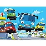 OKOUNOKO Puzzle 150 Piezas, Bus De Dibujos Animados, Personalizado De Madera Montaje Rompecabezas Divertido, 10X15Cm