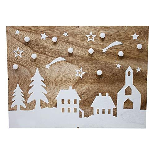 Krippenhandel LED-Wandbild Weihnachtsdekoration Holz Weihnachtsdorf-Motiv Weihnachten mit 10 beleuchteten LED-Kugeln und integriertem Batteriefach