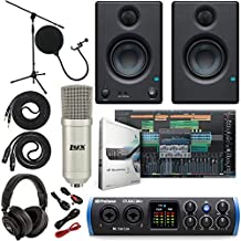 "PreSonus Studio 24c 2x2 USB Type-C Audio/MIDI Interface w/Eris 3.5 Pair Studio Monitors and 1/4"" TRS to TRS Instrument Cable and LyxPro Recording Bundle"
