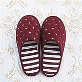 Ririhong Par de Zapatillas de Interior Antideslizantes con Suela de Goma para Hombres y Mujeres Zapatillas de casa de Cuatro Estaciones-Wine_Red_28cm