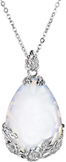Natural Gemstone Teardrop Pendant Carved Flower Necklace Healing Crystal Chakra Jewelry for Women