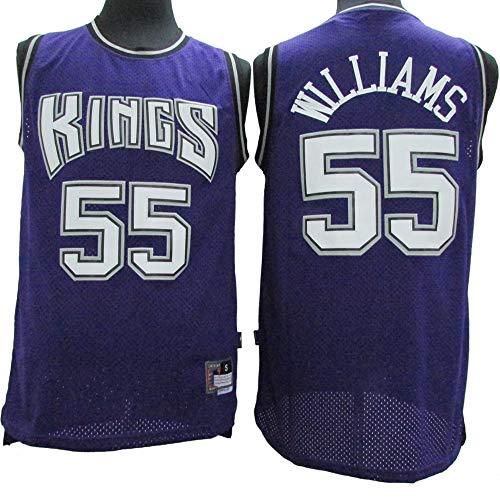 Sacramento Kings # 55 Jason Williams Vintage Besticktes Oberteil MMQQL /Ärmelloses Herren-Basketballtrikot Atmungsaktiv Und Schwei/ßabsorbierend