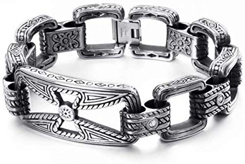NC110 Large Heavy Duty Cross Chain Bracelet Stainless Steel Cubic Zirconia Simulated Diamond Carved Pattern Gothic Rune Amulet Wristband