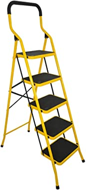 BAOYOUNI 5 Step Ladder Folding Step Stool Heavy Duty Stepladders with Safety Handle and Anti-Slip Wide Pedal Multi-Purpose Ho