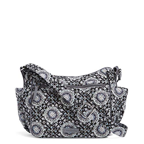 Vera Bradley Women's Signature Cotton On the Go Crossbody Purse, Charcoal Medallion, One Size