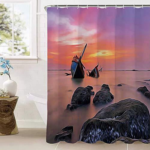 Ocean Decor douchegordijn, gezonken ondergrondse boot schip in foggy water voor prachtige hemel bij zonsondergang afbeelding waterdichte meeldauw polyester stof badkamer setsmet 12 haken (100% Polyester) Oran
