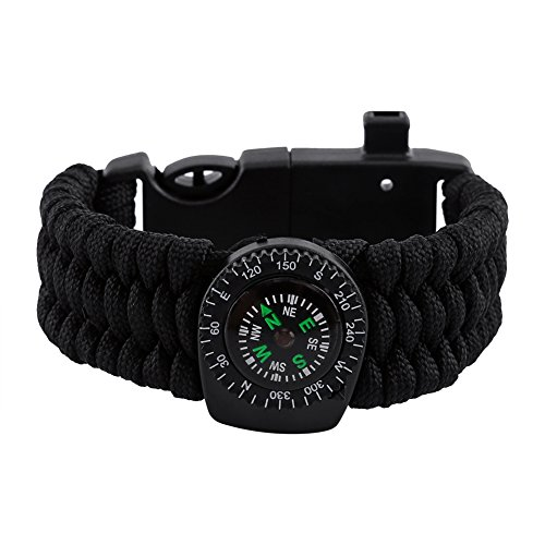 Paracord Survival Armband Kompass Thermometer Feuer Starter Notfall Messer Whistle Paracord ( Farbe : Schwarz )