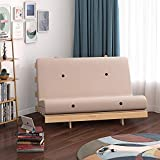 <span class='highlight'><span class='highlight'>PANANASTORE</span></span> Solid Pine Wooden Frame Wooden Futon Set Small Recliner Chair for Children Teenagers Adults with Mattress (Beige, 4FT)