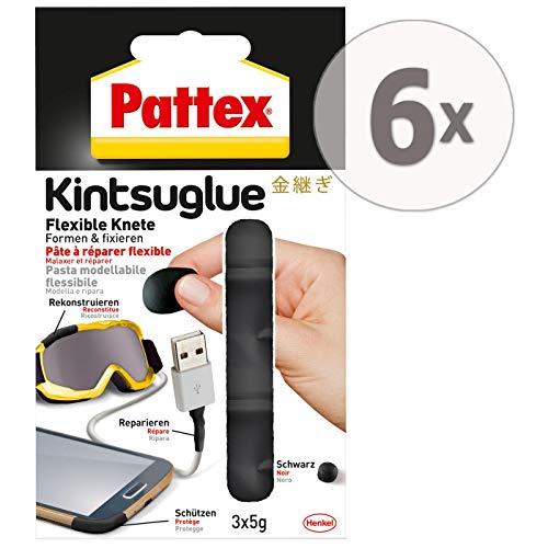 Preisvergleich Produktbild Gardopia Sparpaket: Pattex Kintsuglue Flexible Knete schwarz,  Leicht formbare Klebepaste zum Reparieren,  Rekonstrukieren,  Schützen & Verbessern von Fast Allen Gegenständen,  6 x (3x5g)