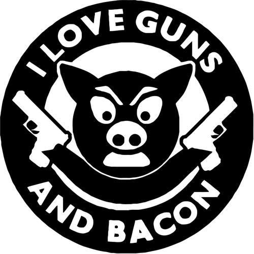 Crazydecals I Love Guns and Bacon Funny Vinyl Decal Car Window Bumper Truck Wall Decor Sticker- 15' Wide Gloss Black Color