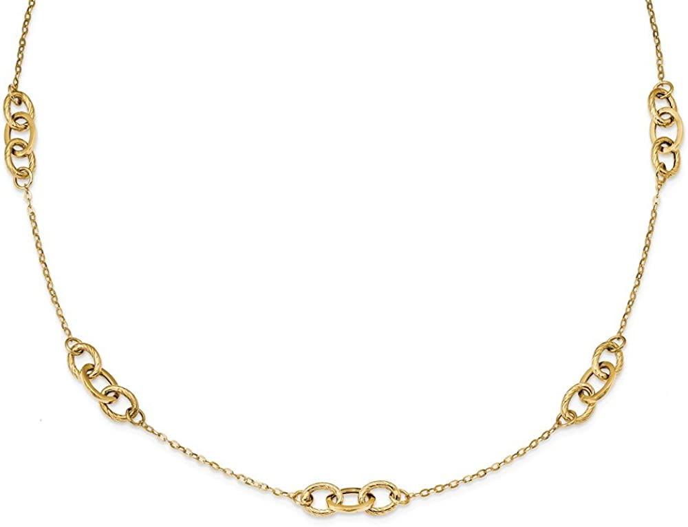 14k Yellow Gold 18 Inch Chain Necklace Pendant Charm Bead Station Fine Jewelry For Women Gifts For Her