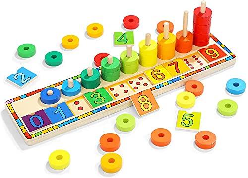 TOP BRIGHT Juego Educativo Montessori - Puzzle de Numeros, Anillos y Bloques de Madera Apilables para Niños de 3 años – Juguete de Iniciación a Las Matemáticas, Lógica y Desarrollo Cognitivo