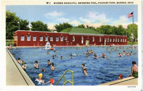 Photo Reprint Warren Municipal Swimming Pool, Packard Park, Warren, Ohio. 1931-1940