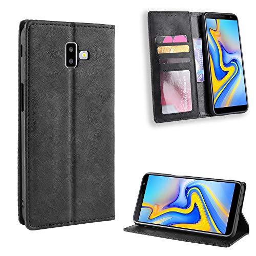 LODROC Coque Galaxy J6+ (J6Plus) Coque,Housse en Cuir Premium Flip Case Portefeuille Etui avec Stand Support et Carte Slot pour Samsung Galaxy J6 Plus/J610FN - LOBYU0100207 Noir