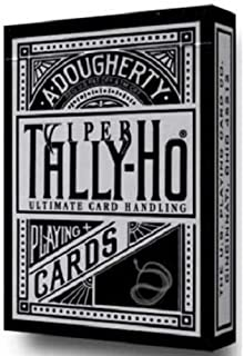 Ellusionist Tally-Ho Viper Fan Back (Black) Tally Ho Metallic Silver Finish Deck