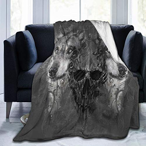 VANKINE ThrowBlanket,Abstract Skull Figure Between Two Canine Animals Wildlife Grunge,Warm Flannel Bed Blankets for Couch Bed Living Room Bedroom,50'X 40'