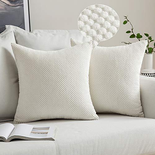 MIULEE 2 Piezas Fundas de Cojines Diseño Granulado Fundas de Almohada con Cremallera Invisible Protectores Poliéster Modernos Decorativa para Cama Sofa Dormitorio Hogar 40 x 40cm Blanco