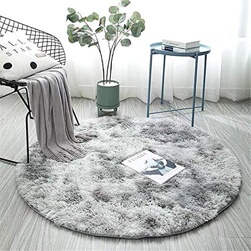 Zhouzekai Tapis décoratif, rond, épais et doux en soie pour salon, chambre à coucher, salle de bain, yoga