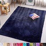 PAGISOFE Navy Fluffy Shag Area Rugs for Bedroom 5x7, Soft Fuzzy Shaggy Rugs for Living Room Carpet Nursery Floor Girls Dorm Room Rug