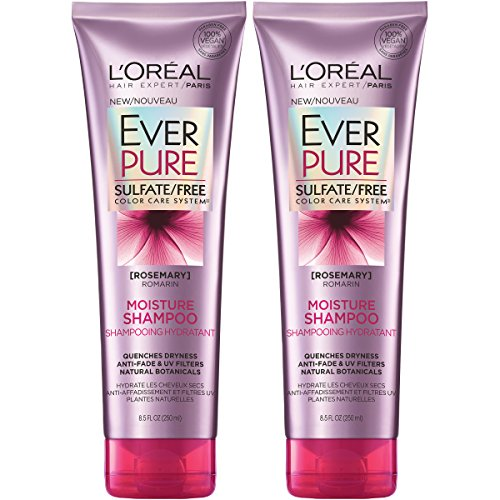 L'Oreal Paris Hair Care EverPure Moisture Sulfate Free Shampoo for Color-Treated Hair, Moisturizes + Replenishes Dry Hair, 8.5 Fl Oz (Pack of 2)