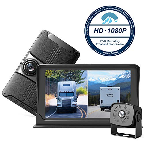 HD Backup & Front Camera with 7'' Monitor,Dash Camera Front and Rear View Cam DVR with 1080P,Advanced Recording Function,IP69 Waterproof,Night Vision for RV/Pickup/Truck/Trailer/Bus