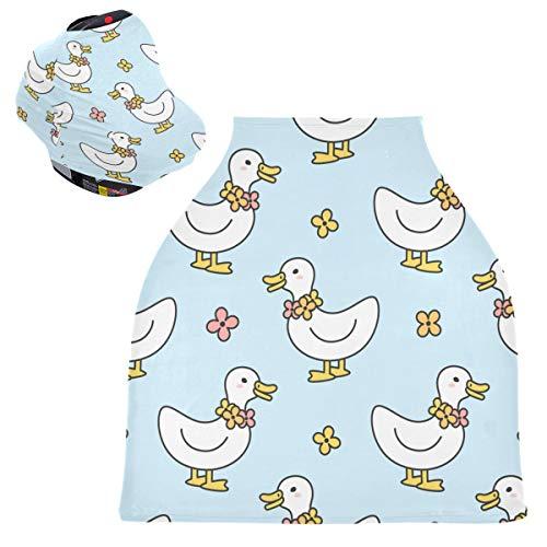 Sinestour Fundas para asiento de coche de bebé con diseño de pato, bufanda de lactancia materna, toldo multiusos