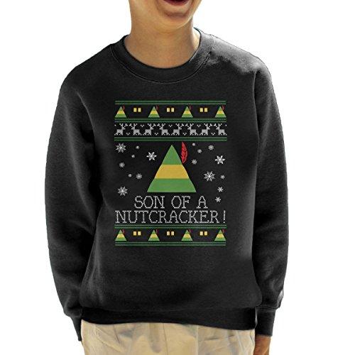 Son of A Nutcracker Elf Quote Christmas Knit Kid's Sweatshirt