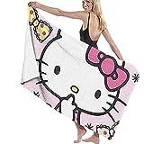 Lfff Hello Kitty con Fiocco Morbido Assorbente Leggero per Piscina da Bagno Yoga Pilates Coperta da Picnic Asciugamani in Microfibra 80 cm * 130 cm
