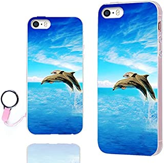 iPhone 5s Case,iPhone 5 case,iPhone SE case,ChiChiC 360 Full Protective shockproof Stylish Slim Flexible Durable Soft TPU Elegant Artist Graphic Design Cover Cases for iPhone 5 5g 5s SE,blue ocean sea marine animal cute dolphin jump