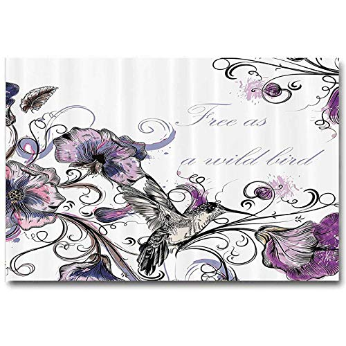 ScottDecor Hummingbirds Decorations Stickers Flowers Leaves Bird and Classic Patterns Curvy Lines Ornament Nostalgic Art for dad from Wife Purple Black L36 x H24 Inch