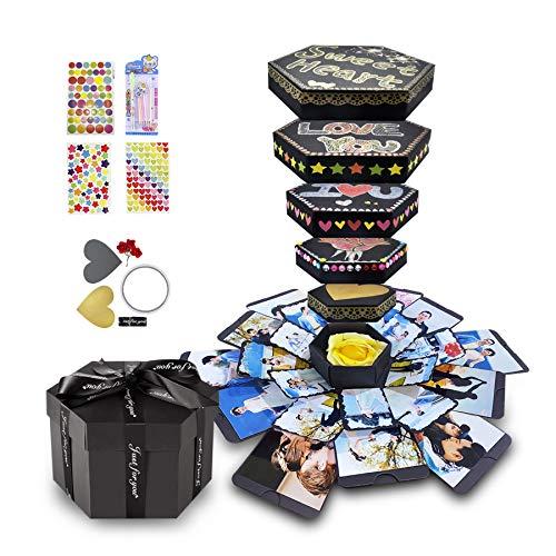 Explosion Gift Box DIY Photo Album Scrapbook for Birthday Anniversary Wedding Proposal,Hexagon Black (Hexagonal Box & DIY kit)