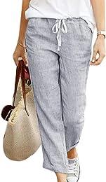 Minetom Femme Pantalon Été Coton Lin Harem Pantalo