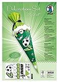 Ursus 9880017F Dekorations Fußball, DIN A4, Set mit Materialien zum Dekorieren Einer Schultüte, mit 4 Bogen Bastelkarton 350 g/qm, (beidseitig Bedruckt und vorgestanzt) sowie Satinband, bunt