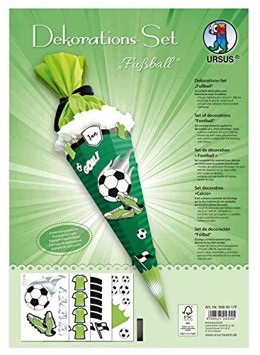 Ursus 9880017F Dekorationsset Fußball, Materialien zum Dekorieren einer Schultüte, zahlreiche Stanzteile aus stabilem Karton und Satinband zum individuellen Verzieren der Zuckertüte